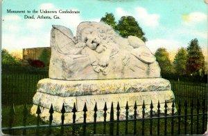 Vtg Postcard 1910 Monument to Unknown Confederate Dead Atlanta GA