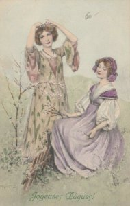 M.M. VIENNE #356, 1908 ; Joyeuses Paques!, Women putting flowers in their hair