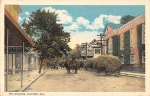 Milford Delaware Street Scene Pea Wagons Farming Vintage Postcard JI658310