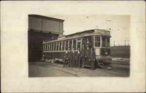 Chelsea/Boston MA Trolley Car & Conductors to Convict Ship c1910 RPPC #2