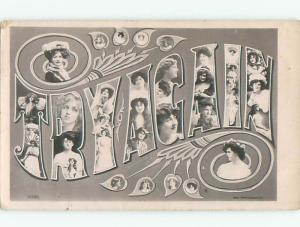 rppc 1903 Try Again WORDS IN BIG LETTERS - WITH FACES OF GIRLS AC8123