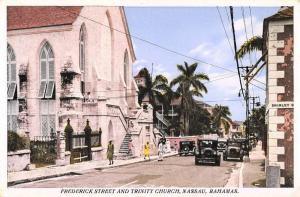 Nassau Bahamas Trinity Church Street View Antique Postcard K54530
