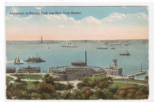 Battery Park Aquarium & Harbor New York City 1920s postcard