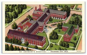Mid-1900s Aerial View of St. Anthony's Hospital, Oklahoma City, OK Postcard