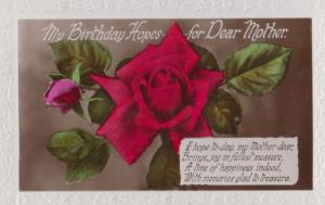 Roses A Rose Hopes Mother Romance Happy Birthday Mother Old Greetings Postcard