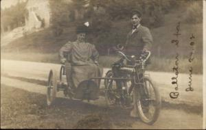 Ballston Spa NY Motorcyle Woman in Sidecar 1908 Real Photo Postcard