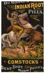 Trade Card ,  Dr.Morse's Indian Root Pills , Indian on horse killing a bear