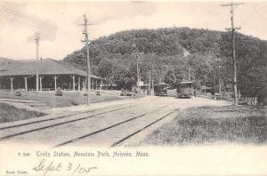 Holyoke MA Mountain Park Trolley Station~Interurbans Passengers~Rotograph 1905