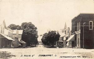 Evansport OH South Main Street Storefronts Peterson & Son Publisher RP Postcard