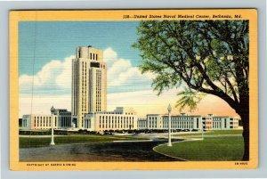 Bethesda MD-Maryland, United States Naval Medical Center, Linen c1948 Postcard