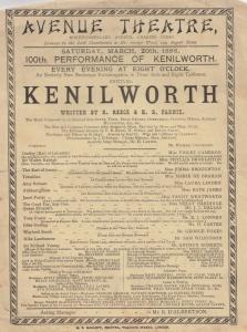 Kenilworth Castle Greenwich Ship Warwickshire Victorian Theatre Programme