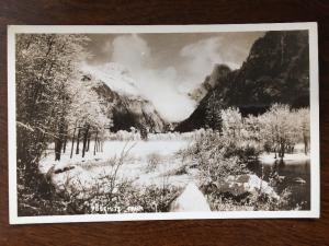 RPPC Yosemite Park Winter Scene Half Dome  C13