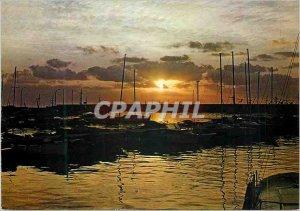 Modern Postcard Sunset Boat