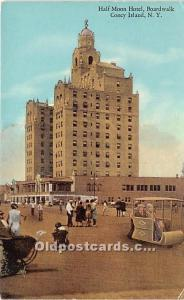 Amusement Park Postcard Post Card Half Moon Hotel, Boardwalk Coney Island, Ne...