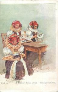 Slovakia folk costumes M. Gardavska peasant girl red winpels head ornaments