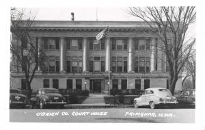 Primghar IA 6 Second-Story Columns~Courthouse~US Flag~RPPC Nice 1940s Cars