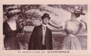 Ear Pulling Dominant Woman Man As Dog Real Photo Postcard