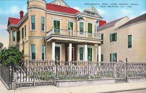 Postcard Ornamental Iron Iron Corn Design Fence New Orleans Louisiana