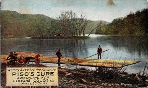 LANDSCAPE RIVER WAGON Piso's Cure for Coughs Colds Postcard - VINTAGE