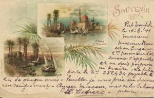 egypt, CAIRO, Multiview, Arab Village, River Nile (1899) Stamp