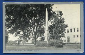 Richmond Texas tx Jaybird Monument Statue litho postcard