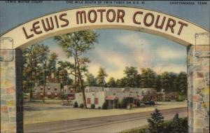 Chattanooga TN Lewis Motor Court Linen Postcard