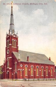 Indiana In Postcard c1910 MICHIGAN CITY St Johns Lutheran Church
