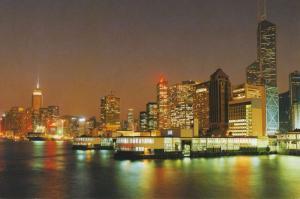 Hong Kong China Admiralty at Night Skyline Hongkong Unused Postcard D30
