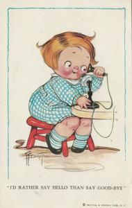 Grace DRAYTON-WIDERSEIM, PU-1913; Child on telephone
