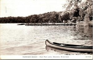 Coloma Michigan~Paw Paw Lake~Fairview Beach~Kids on Dock~Canoe~1940s CR Childs