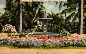 Florida Miami Bayfront Park Spanish Tile Fountain 1939