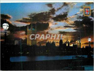 Postcard Modern London Sunset on the Big Ben and the Houses of Parliament