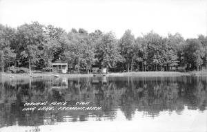 Fremont Michigan~Coburn's Place @ Long Lake~Cottages & Trees along Lake~50s RPPC