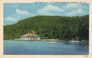 Lake Floyd on U.S. 50, between Salem and Clarksburg, W. VA. Linen Postcard