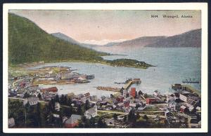 Birdseye View Wrangell Alaska unused c1920's