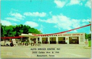Beaumont, Texas Postcard AUTO SERVICE CENTER Texaco Gas Station c1950s Unused