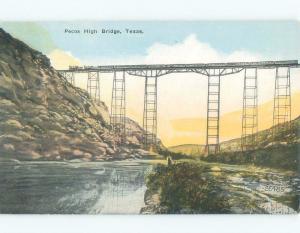 Unused Linen BRIDGE SCENE Comstock & Langtry - Near Del Rio Texas TX d3981