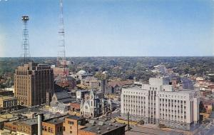 Des Moines Iowa~Bankers Life~Aerial View~KRNT Towers~1950s Postcard