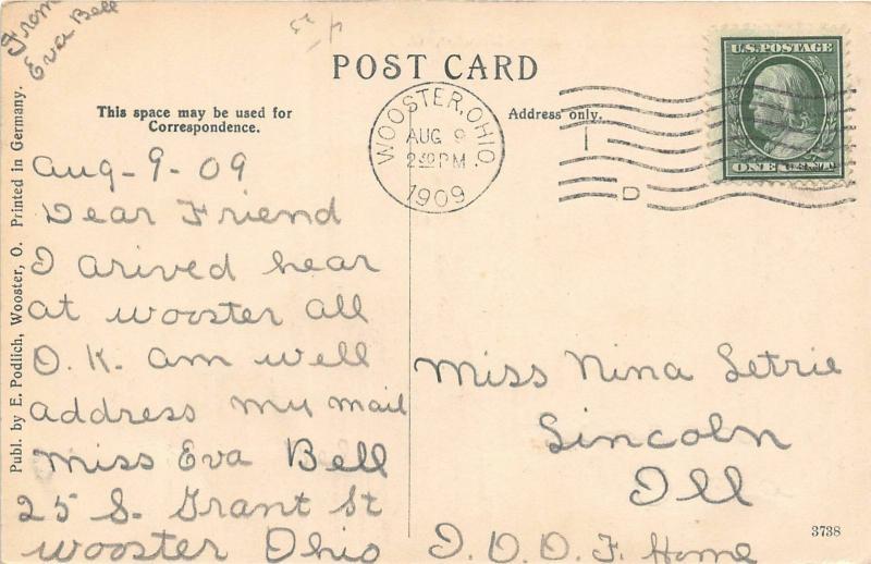 F28/ Wooster Ohio Postcard 1909 Larwell Moslem Cemetery
