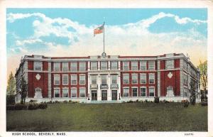 Mas. Beverly High School building, flag