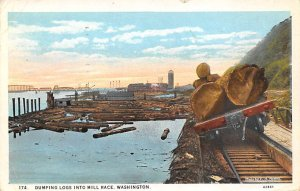 Dumping Logs into Mill Race Washington, USA 1950