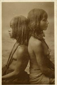 Young Native Sundanese Bichareen Girls with African Braids (1917) RPPC