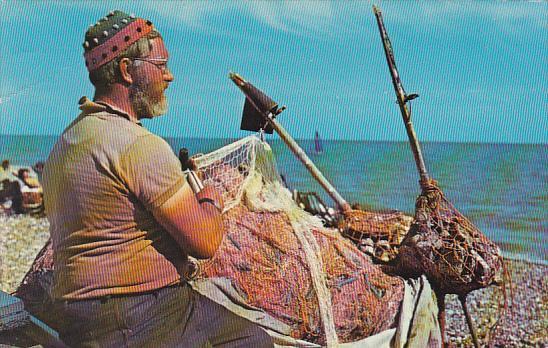 England Worthing Fisherman Mending His Nets 1973