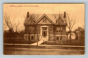 Little Falls MN-Minnesota, Carnegie Library, Vintage c1911 Postcard