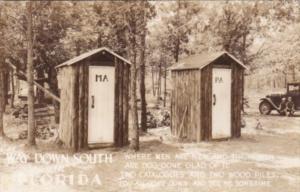 Florida Humour Ma and Pa Outhouses Real Photo