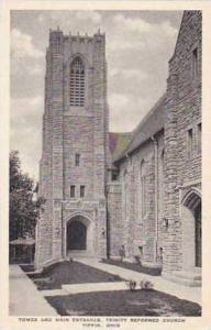 Ohio Tiffin Tower and Main Entrance Trinity Reformed Church Albertype