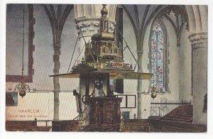 Netherlands Holland Haarlem Church Pulpit Groote Kerk Preekstoel Vtg Postcard