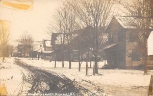 Richford New York~Lower Railroad Street Homes~Snowy Dirt Road~1912 RPPC