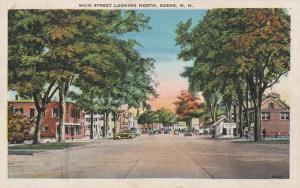 Main Street looing North - Keene NH, New Hampshire - pm 1938 - Linen
