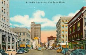 Main Street Aurora Illinois IL 1950's pm 1951 old cars Postcard